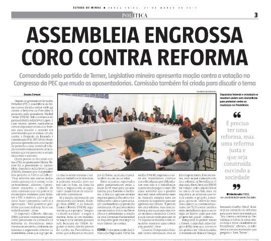 Assembleia Legislativa de Minas Gerais engrossa coro contra reforma