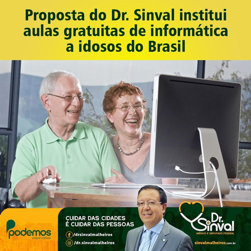 Proposta do Dr. Sinval institui aulas gratuitas de informática a idosos do Brasil