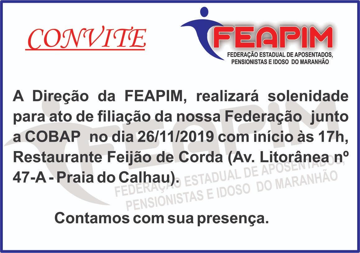 FEAPIM convida para solenidade de filiação à COBAP